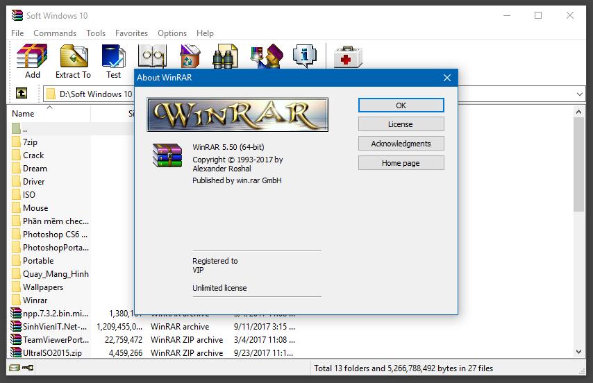 Giao diện chính của phần mềm nén winrar