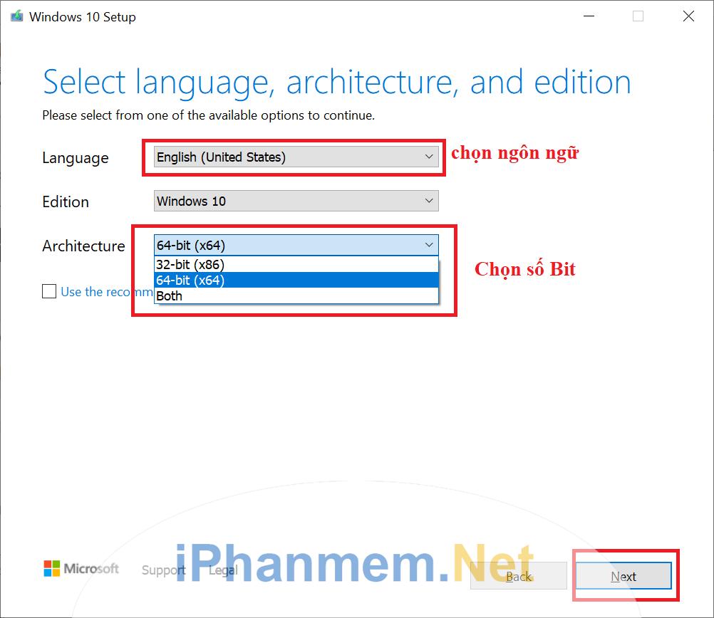 Lựa chọn ngôn ngữ, phiên bản, số bit bạn muốn tải về