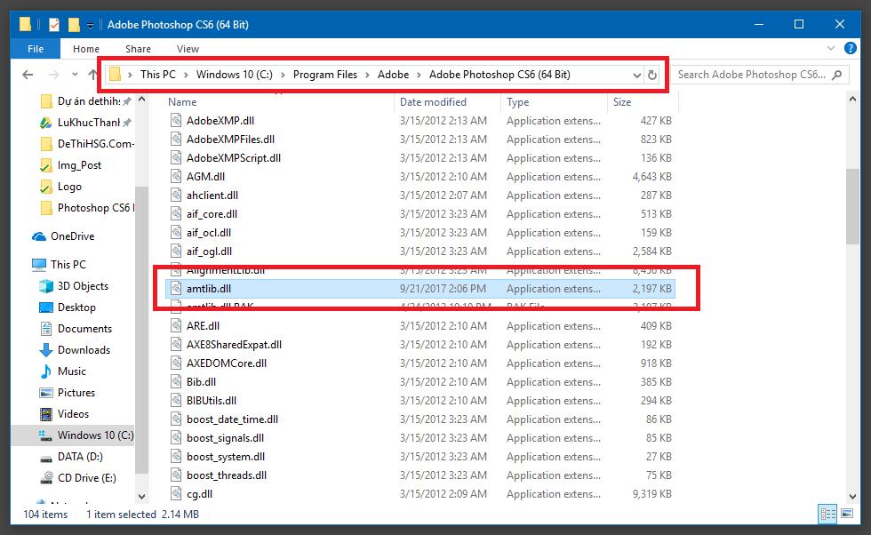 Copy vào folder Adobe Photoshop CS6 đối với bản 64 bit
