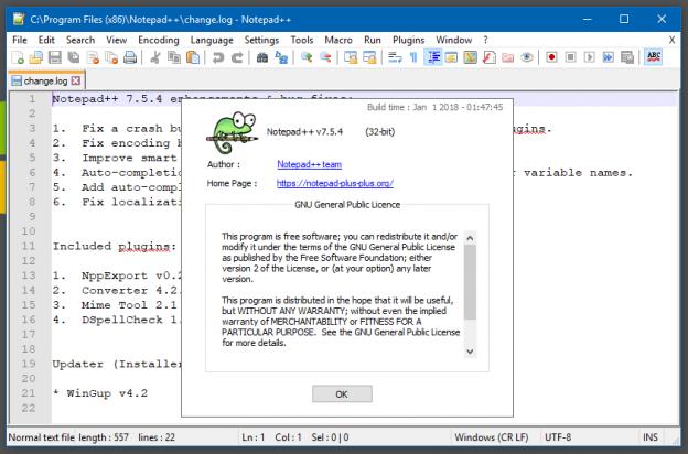 Giao diện chính của phần mềm Notepad++