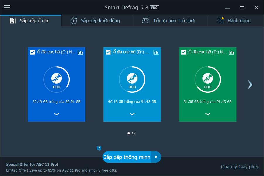 Giao diện chính của phần mềm Smart Defrag Pro