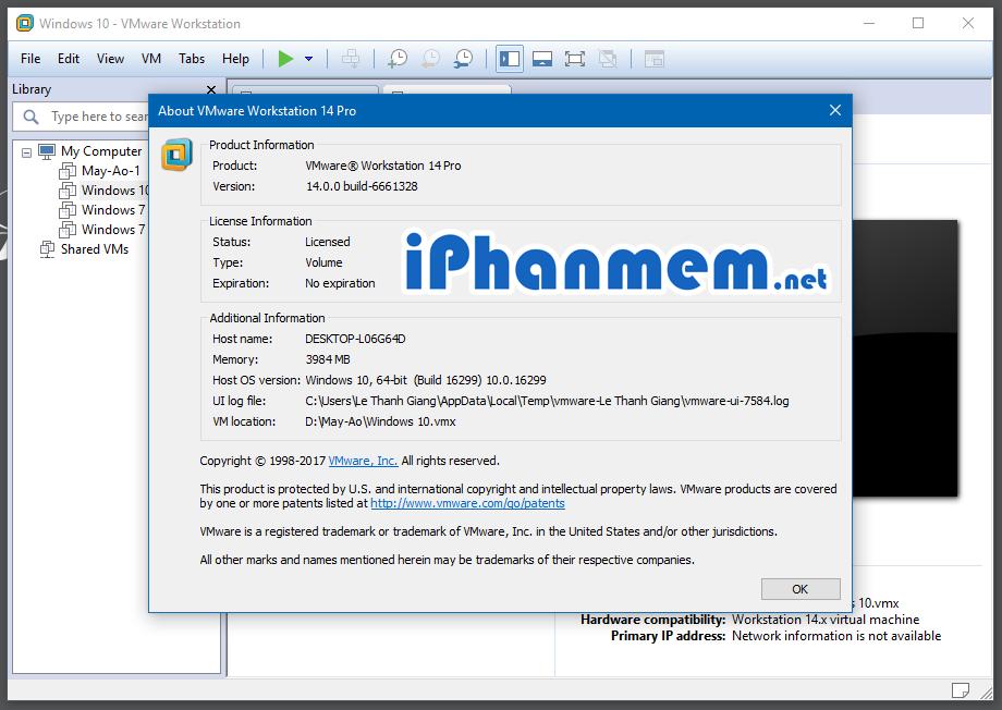 Giao diện chính của phần mềm tạo máy ảo VMware Workstation Pro 14