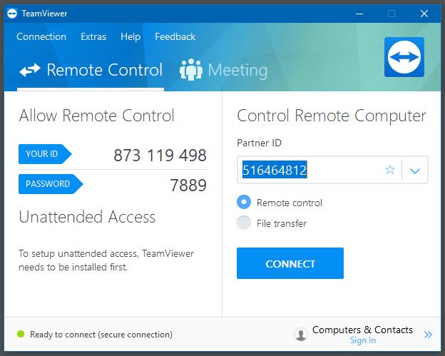 Giao diện chính của phần mềm Teamviewer