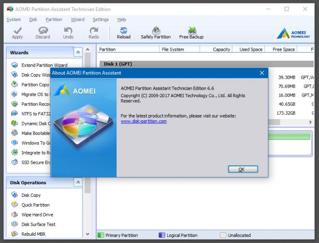 Giao diện chính của phần mềm phân vùng ổ cứng AOMEI Partition Assistant Portable