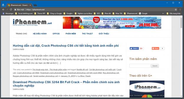 Giao diện chính của trình duyệt Google Chrome