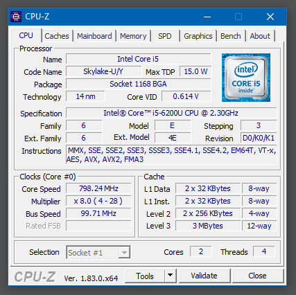 Giao diện chính của phần mềm CPU-Z