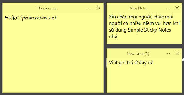 Giao diện Simple Sticky Notes