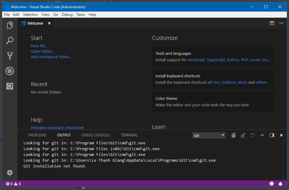 Giao diện Visual Studio Code