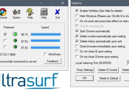 Giao diện làm việc chính của Ultrasurf