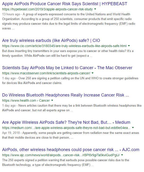Thông tin Airpods trên Google