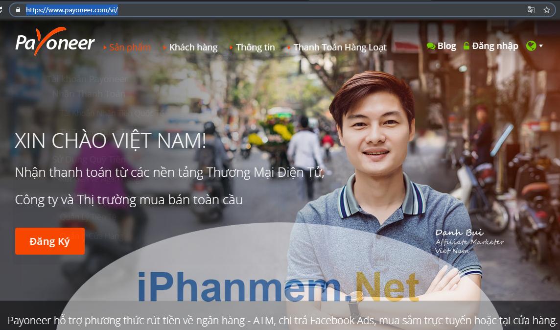 Trang chủ của Payoneer Việt Nam