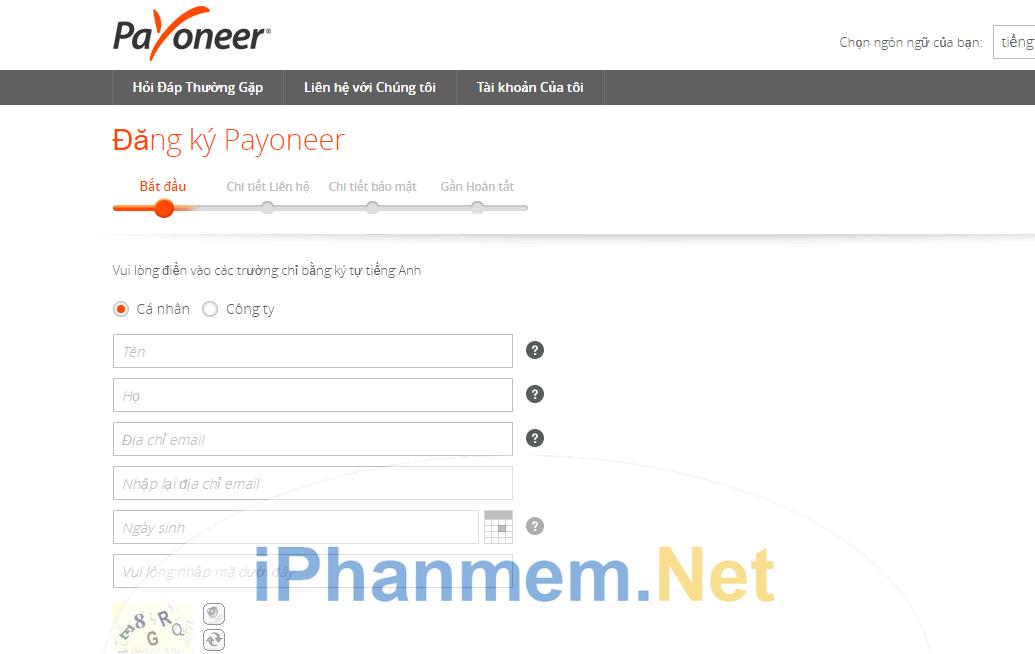 Giao diện đăng ký của Payoneer