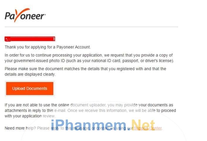 Hướng dẫn xác thực thông tin cá nhân khi tiến hành đăng ký tài khoản Payoneer - 1