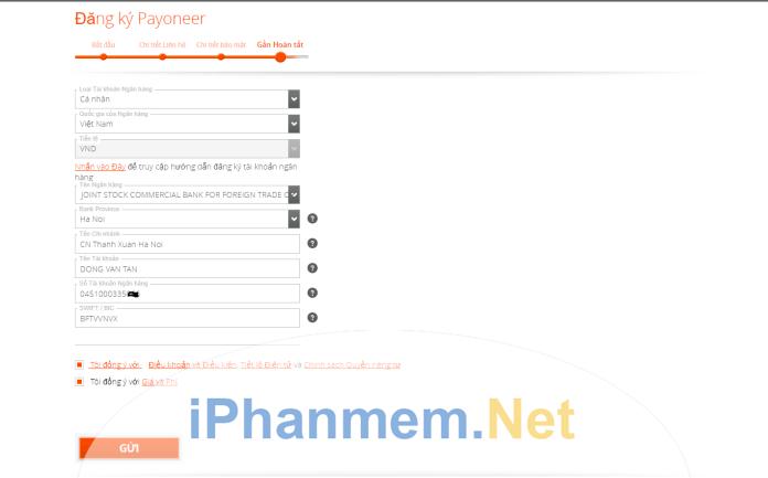 Mục chi tiết liên hệ cho tài khoản Payoneer