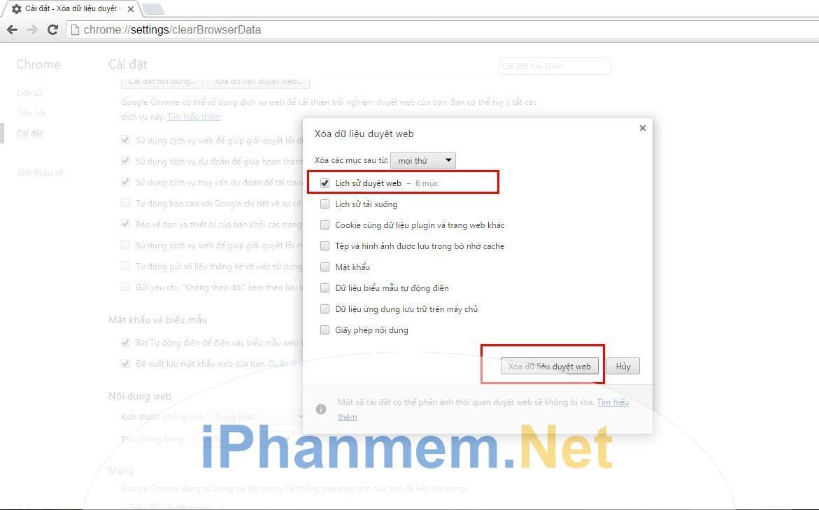 Kết quả hình ảnh cho Xóa lịch sử duyệt web trên Google Chrome