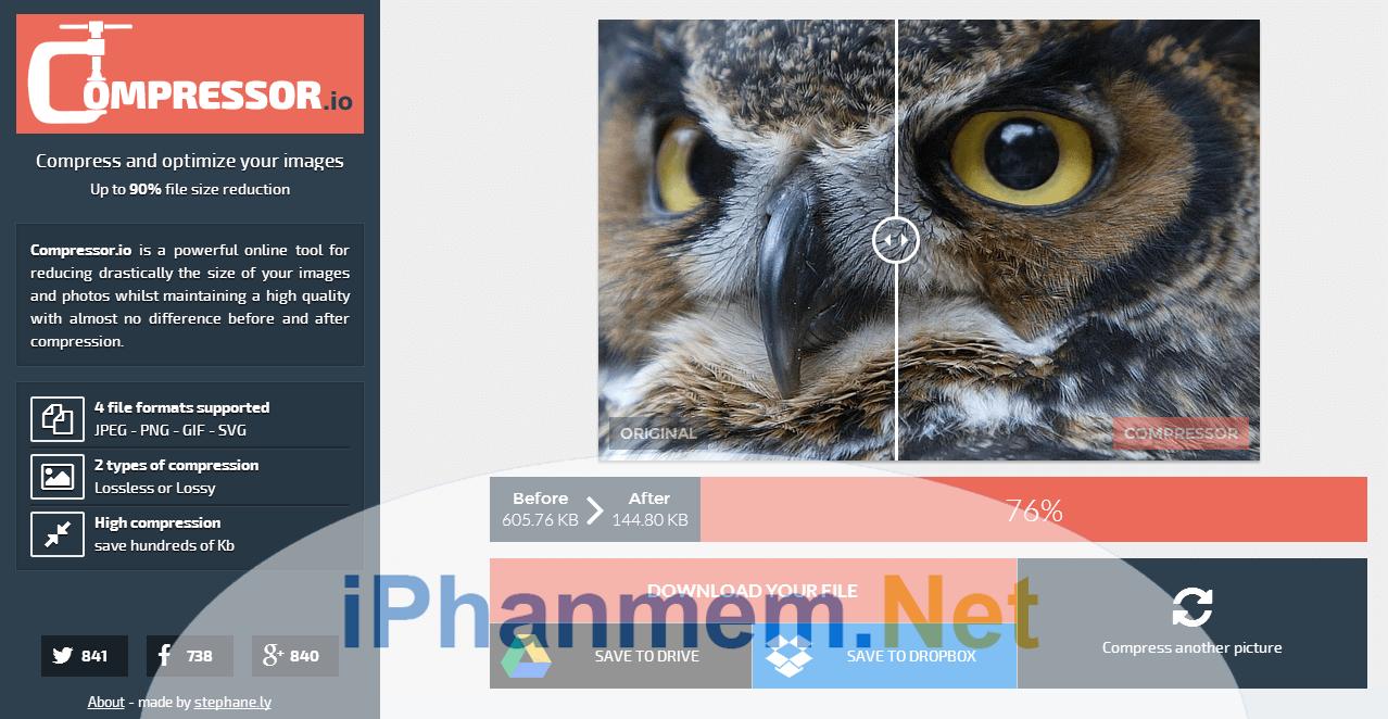 Compressor là website nén ảnh chất lượng và tốt nhất hiện nay