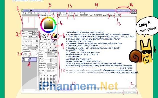 Giao diện và phím tắt của Paint tool SAI