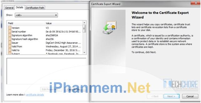 Import ssl để xác thực với trình duyệt website