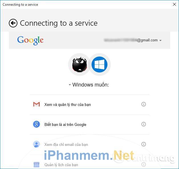 Windows Calendar sẽ xin xác nhận của bạn về việc truy cập các thông tin cá nhân