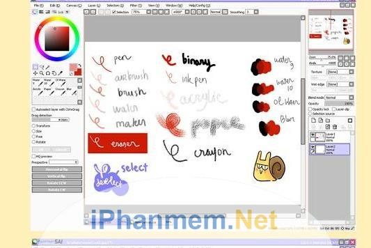 Các drawing tools của Paint Tool Sai