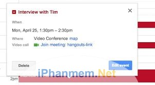 Có thể họp online qua hangout khi có lịch hẹn trên Google calendar