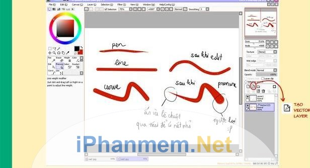 Một số nét vẽ của vector layer Paint Tool Sai