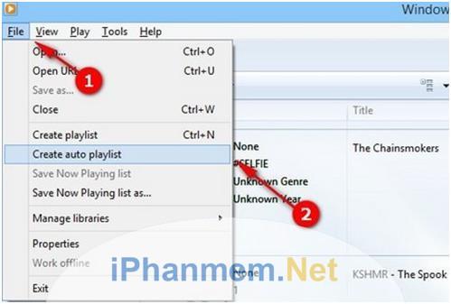 Tạo danh sách bằng nút Create Auto Playlist