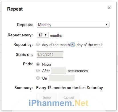Tạo lịch 1 lần nhưng được nhắc nhở nhiều lần nhờ sử dụng tính năng lặp lại sự kiện