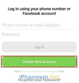 """Nếu muốn sử dụng Messenger dưới một tài khoản hoàn toàn mới, hãy đăng ký bằng cách chọn """"Create New Account"""""""