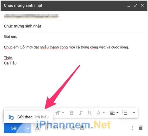 Tính năng hẹn giờ gửi email tự động trong nhóm