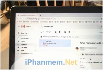 Tính năng hẹn giờ gửi email thực hiện trên cả web và thiết bị điện thoại