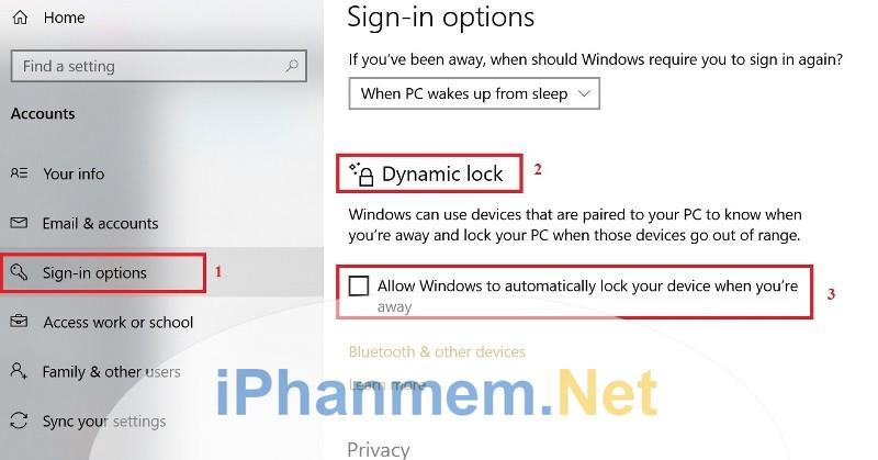 Bật chức năng Dynamic Lock trong Windows 10