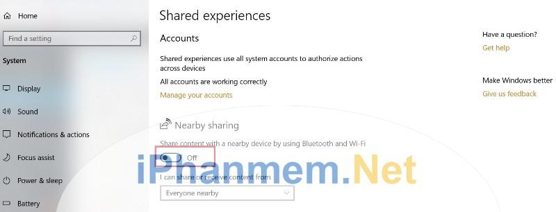 Bật tắt chức năng Near Share trong Windows 10