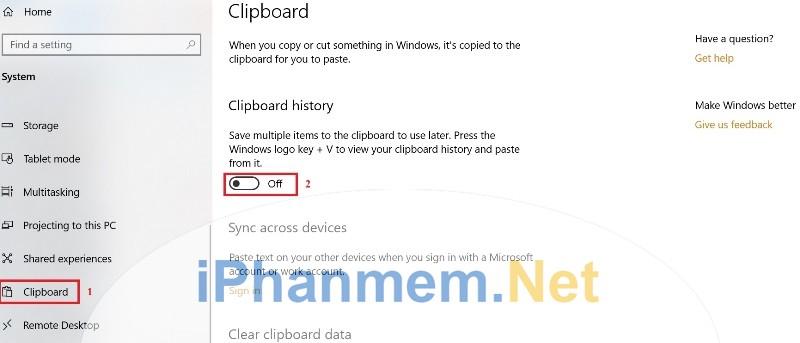 Bật tắt chức năng Cloud Clipboard trên Windows 10