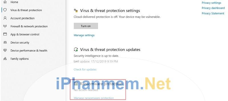 Bật tắt chức năng Ransomware