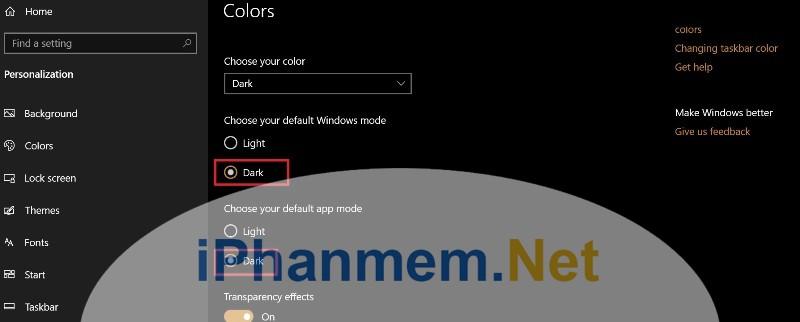 Cách chọn Dark themes trong Windows 10