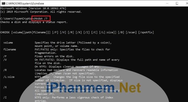 Tìm hiểu câu lệnh CHKDSK trong windows