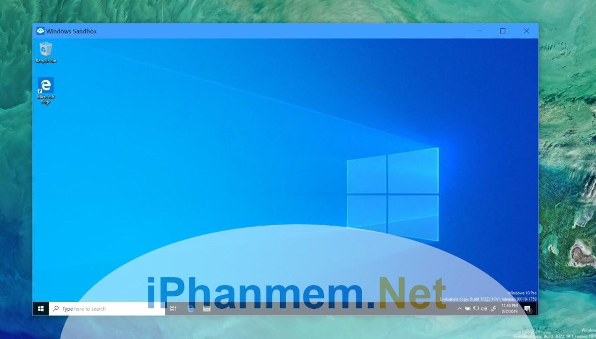 Giao diện Windows Sandbox trong hệ điều hành Windows 10