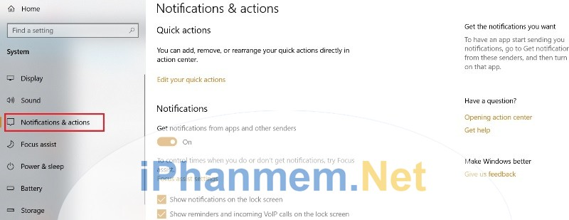 Các thông báo của ứng dụng trong Windows 10