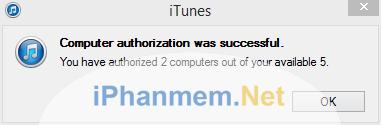 Cho phép máy tính này trong iTunes