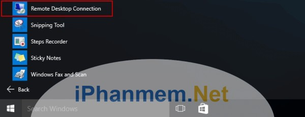 Mở Remote Desktop Remote trong Start menu