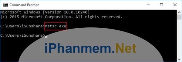 Mở Remote Desktop Connection bằng câu lệnh