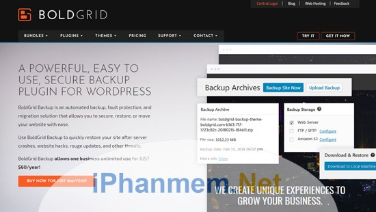 Boldgrid Backups Giải pháp backup website wordpress hữu hiệu