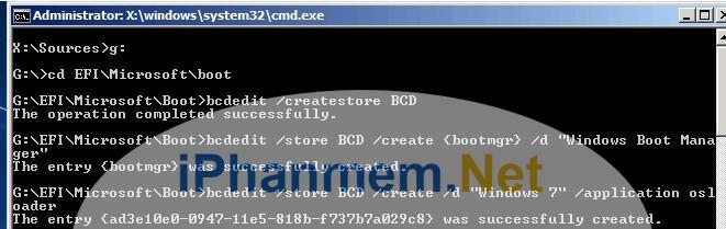 Tạo BCD bằng câu lệnh