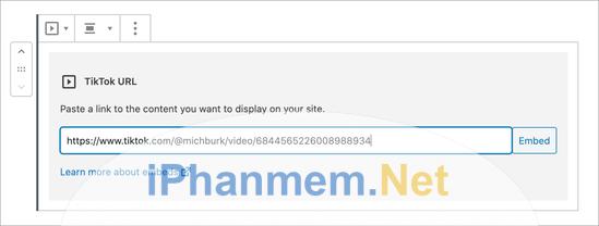 Chèn URL video TikTok vào khối vừa tạo