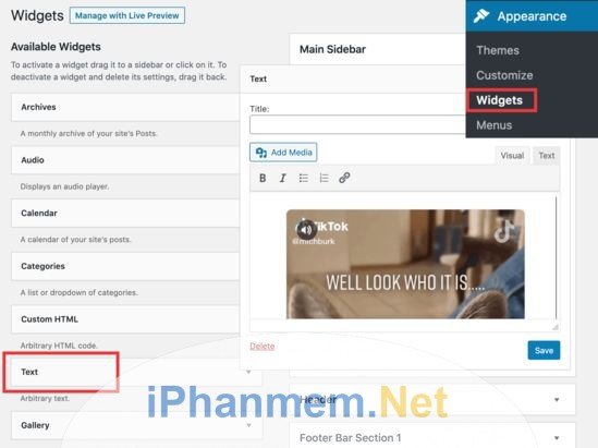 Chèn video TikTok vào slidebar của WordPress