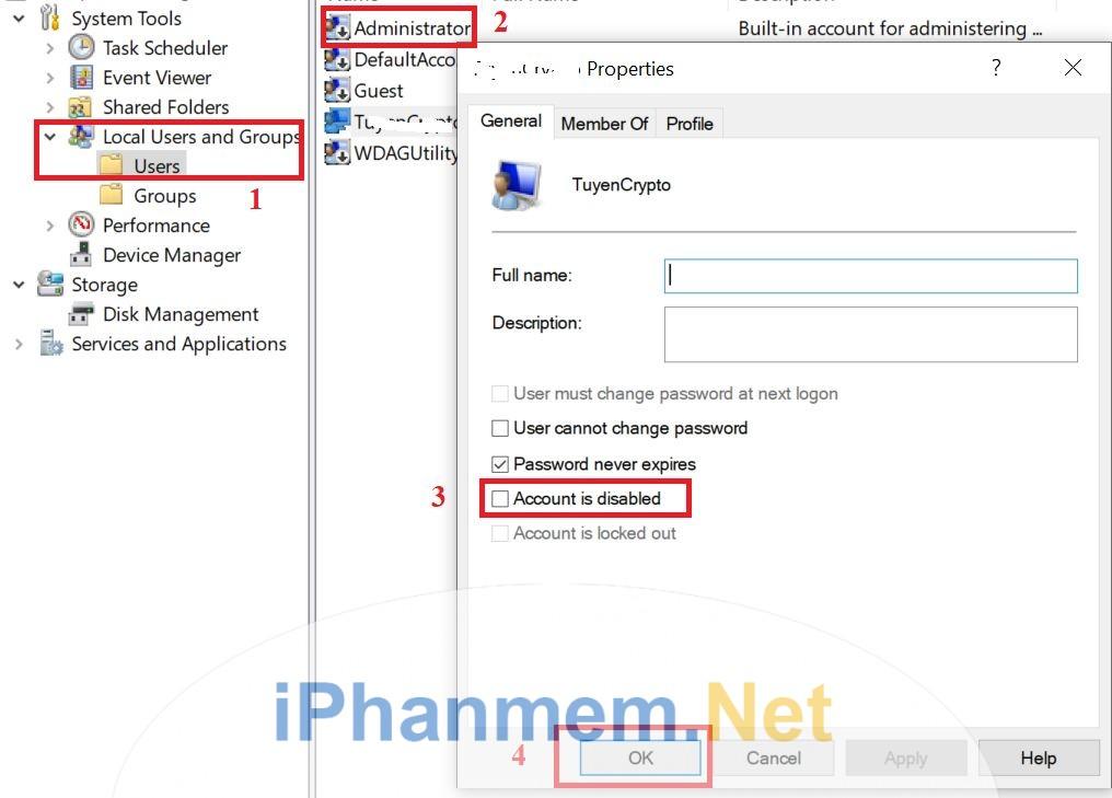 Cách nhanh nhất để mở và khóa một tài khoản trong windows bằng giao diện
