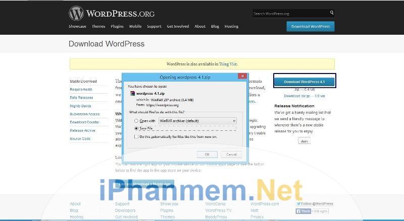 Copy mã nguồn WordPress dán vào localhost