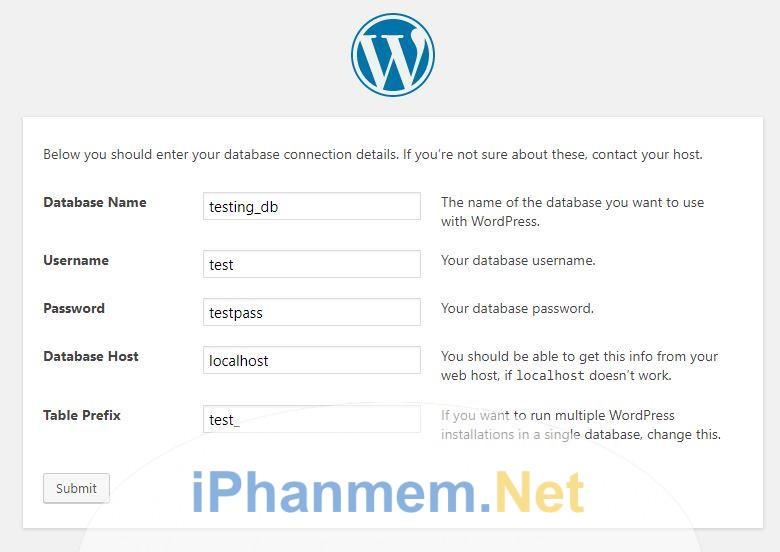Tạo database WordPress mới