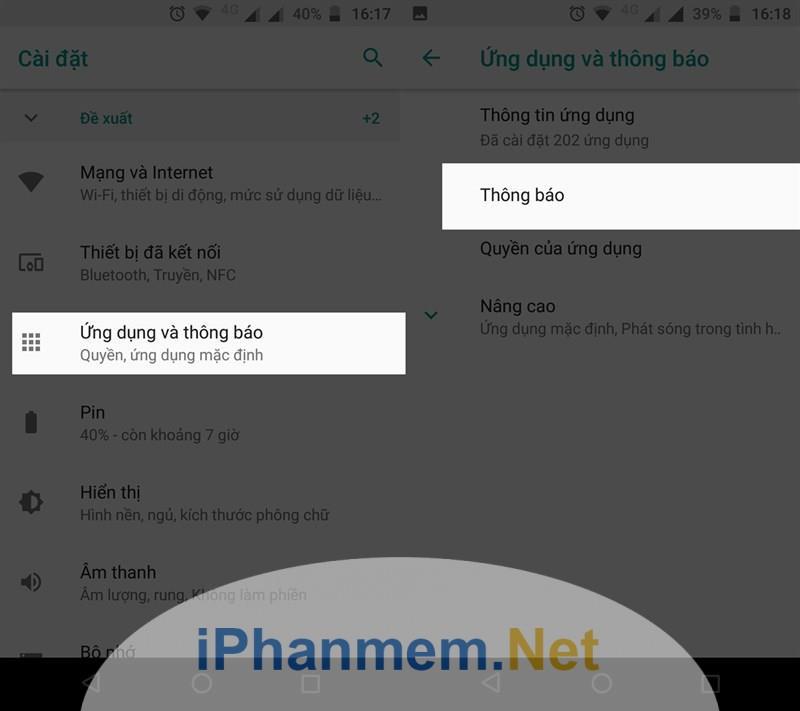 Ẩn thông báo trên màn hình trên smartphone Android